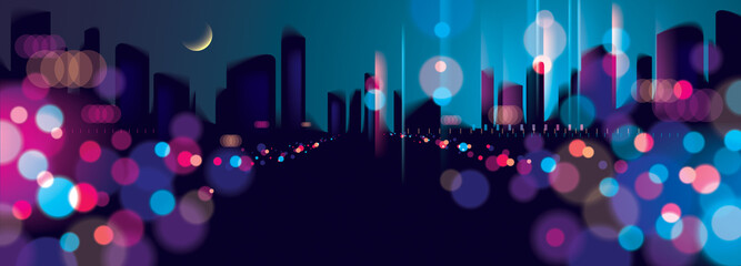 Wide panorama blurred street lights, urban abstract background. Effect vector beautiful background. Big city nightlife. Blur colorful dark background with cityscape, buildings silhouettes skyline.