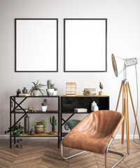 Mock up poster frame in hipster interior background, 3D render
