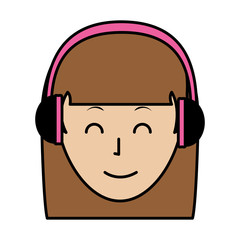 color happy avatar woman with headphones and hairstyle