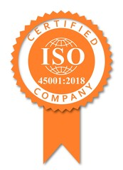 ISO 45001 norm Occupational health and safety orange icon medal