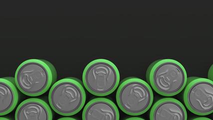 Big green soda cans on black background