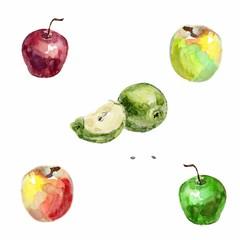 Set of watercolor apples