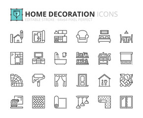 Outline icons about home decoration