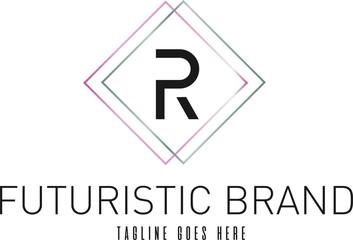Modern Elegant Silver Rose Gold Geometric Letter R Logo