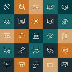 Modern Simple Set of chat and messenger, email Vector outline Icons. ..Contains such Icons as message,  business,  phone,  web and more on vintage colors background. Fully Editable. Pixel Perfect.