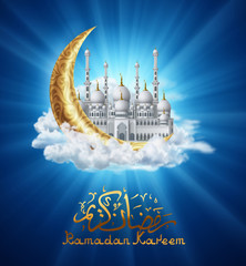 Mosque with golden Crescent