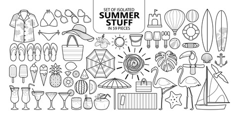 Set of isolated summer stuff in 59 pieces.
