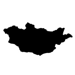 black silhouette country borders map of Mongolia on white background of vector illustration
