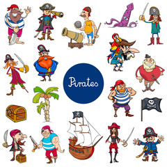 cartoon pirates fantasy characters set
