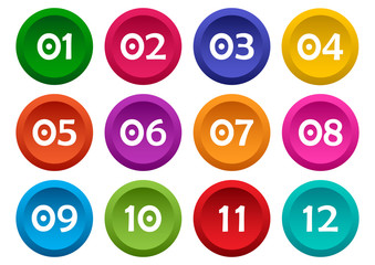 Colorful set of buttons with numbers from 01 to 12. Vector illustrati