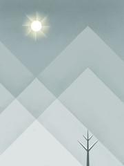 Cold Sun in Snowy Mountains