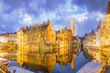 Wall Mural - Belfry tower and medieval buildings along a canal in Bruges, Belgium