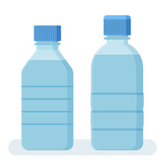 Two bottles of water. Vector illustration
