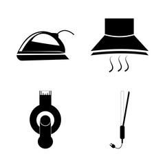 icon Electronic with women, exhaust fan, house, kitchen and usb flash drive