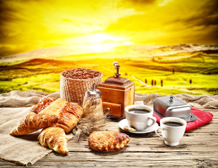 Wall Murals Yellow Fresh coffee and landscape of tuscany