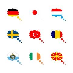 icon Flag with japan flag, flag, turkey, japan and luxemburq flag