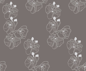Vector Colorful Seamless Pattern with Drawn Flowers