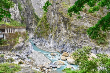 Beautiful Scenery of Taroko Gorge Near Swallow's Grotto Trail in Taroko National Park