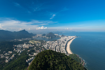 Aerial View of Rio de Janeiro City With Ipanema Beach, Rodrigo de Freitas Lagoon, and Corcovado Mountain