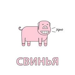 Cartoon Pig Flashcard for Children