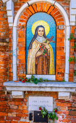 Street Shrine Nun Saint Mosaic Venice Italy