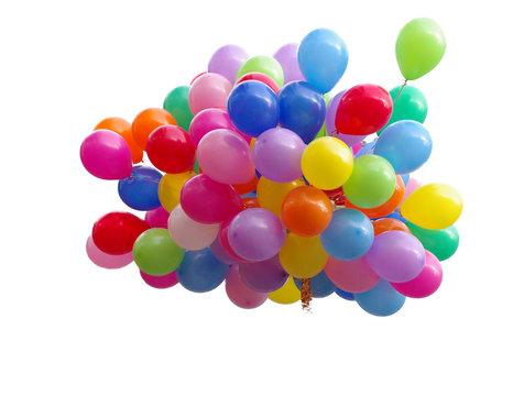 A lot of colorful balloons. White background