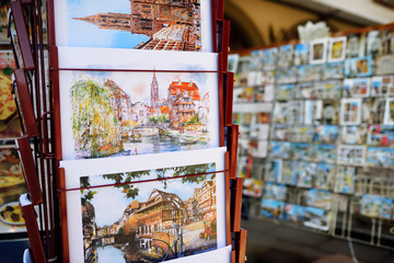 STRASBOURG, FRANCE - March 24, 2018: pictures of the city exhibited for sale