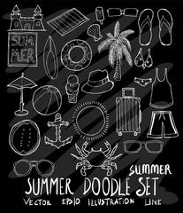 Set of Summer illustration Hand drawn doodle Sketch line vector on chalkboard eps10