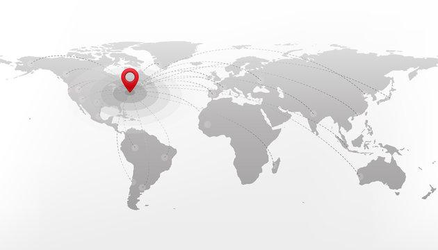 Travel destination concept. International journey. Red pointer on grey world map