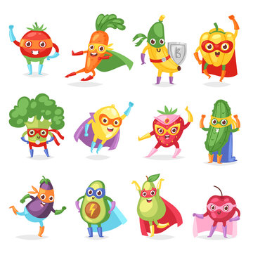 Superhero fruits vector fruity cartoon character of super hero expression vegetables with funny banana carrot or pepper in mask illustration fruitful vegetarian set isolated on white background