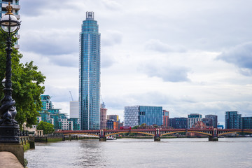 The Vauxhall Tower in the London view with Vauxhall Bridge over River Thames