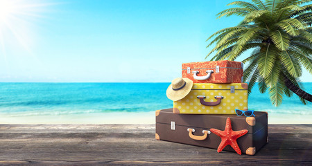 Ready for summer vacation, travel background 3D Rendering
