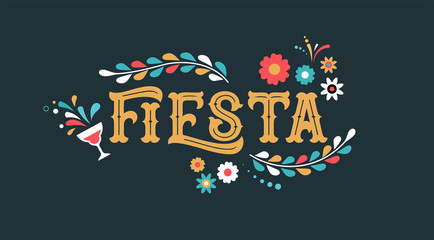 Fiesta banner and poster design with flags, flowers, decorations Wall mural