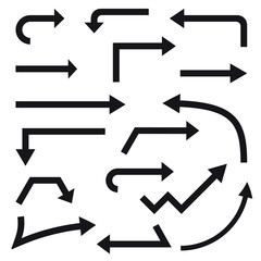 Set of vector arrows, pointer, directions; flat style.