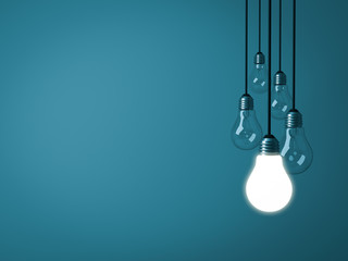 One hanging light bulb glowing on dark green pastel color background with unlit incandescent glass bulbs . 3D rendering.