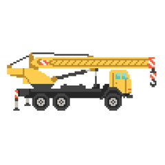 Yellow crane truck in 8 bit game style. Pixel color illustration isolated on white background. Construction building machinery