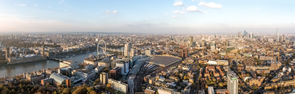 London Aerial Panorama View feat. Houses of Parliament, London Eye, Westminster on Thames River, Shard and Famous English Landmarks Skyline Wide Panoramic Birds Eye View in England, United Kingdom UK