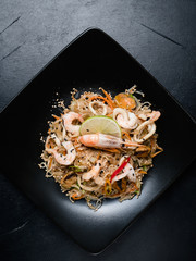 japanese cuisine. healthy nutrition. wholesome food diet. noodle prawn shrimp seafood and vegetable dish