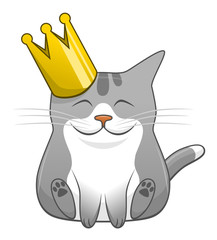 Cartoon cute cat with crown