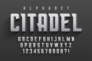 Vector condensed original display font design, alphabet, charact