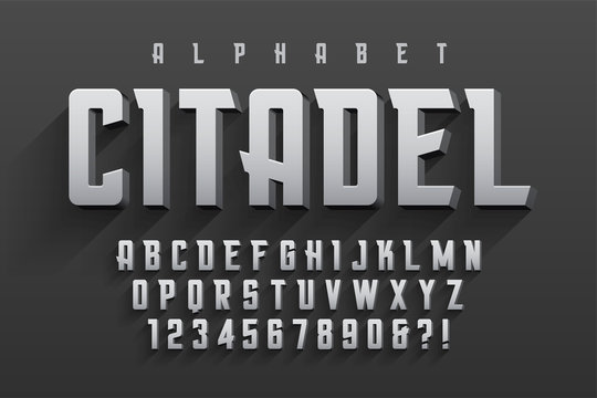 Vector condensed original display font design, alphabet, charact
