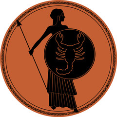 Zodiac in the style of Ancient Greece. Scorpio. Warrior woman with a shield with a scorpion and spear. Black figure inscribed in a circle surrounded by a fret.