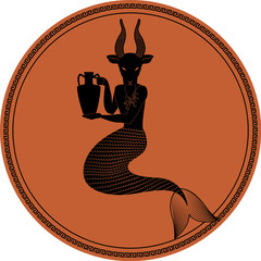 Zodiac in the style of Ancient Greece. Capricorn. Mythological figure of man with goat's head and fish tail holding an amphora. Black figure inscribed in a circle surrounded by a fret.