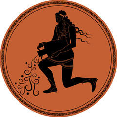 Zodiac in the style of Ancient Greece. Aquarius. Man with a beard, long hair and laurel wreath, pouring water from an amphora. Black figure inscribed in a circle surrounded by a fret.