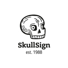 sign funny skull with eyes
