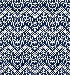 Woodblock printed indigo dye seamless ethnic floral geometric pattern. Traditional oriental ornament of India Kashmir, loach with chevron motif, navy blue on ecru background. Textile design.