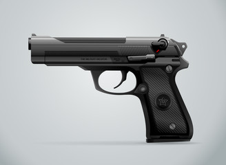gun black metal weapon vector illustration
