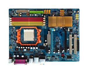 Motherboard  in blue with slots PCI,  AGP, DDR, CPU  Visible heat sink. View from above