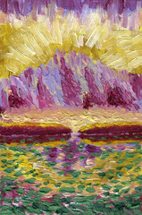 Oil Painting on canvas. Mountain lake with reflections. Mountain in the background of the rising sun. Rough texture of large brush strokes.