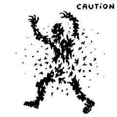 caution black zombie signs. vector illustration